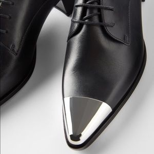 Zara Black Leather Pointed Metal Toe Oxford Flats